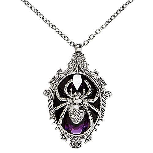 NET TOYS Halloween-Schmuck Spinne | Silber-Violett | Extravagantes Damen-Accessoire Gothic-Halskette Hexe | EIN Blickfang für Mottoparty & ()