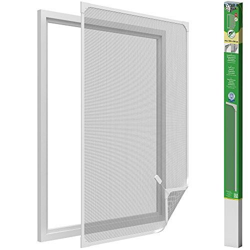 Easy life, zanzariera per finestre con telaio magnetico in pvc, facile da montare, senza forare, accorciabile individualmente, bianco, 100 x 120 cm