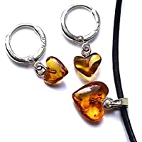 Sterling Silver 925 Hoop Earrings with Amber Hearts Necklace Choker Set