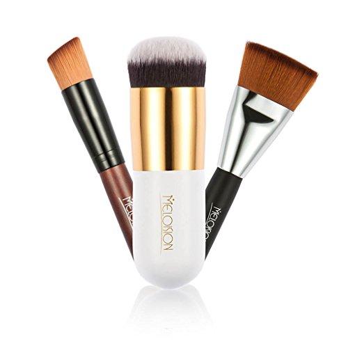 Meisijia 3pcs / set pinceau de maquillage plat Set professionnel visage Blush Contour Foundation poudre pinceau