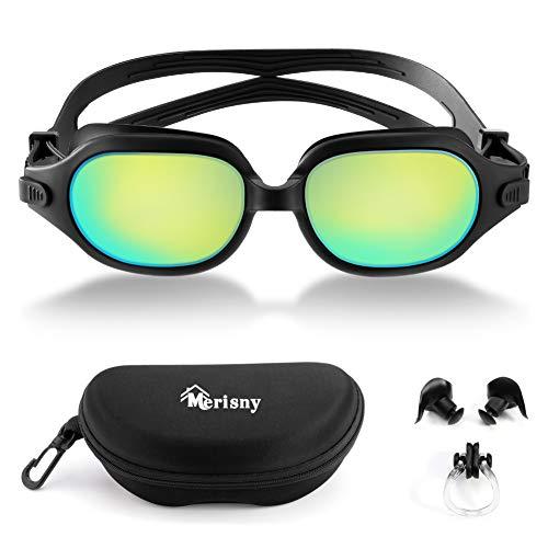 Merisny Occhialini da Nuoto Agonistico, Anti-Appannamento, Protezione UV Impermeabile, per...