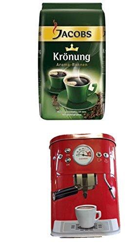 Jacobs Krönung Bohne 500g 1er Pack + Kaffeedose neu 3 D Design rot