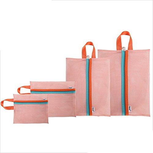 Huhuswwbin Netz-Aufbewahrungstasche, Premium-4 Stück, Feinschmeichler mit Reißverschluss, Dessous, Reiseaufbewahrung, Kleidung, Wäschebeutel für Wäsche, Bluse, Strümpfe, Strümpfe, Pink Rose -