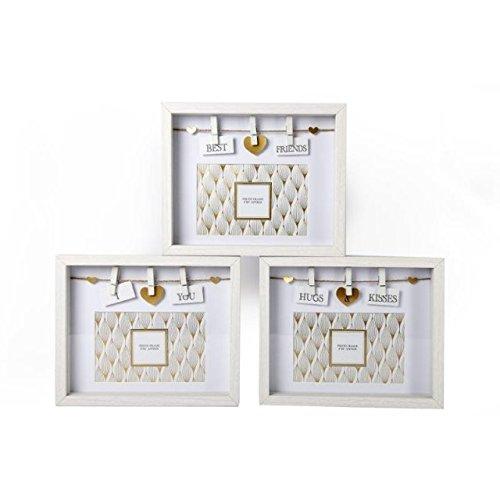 Weiß & Gold Holz Box Bilderrahmen 6x 4Deko Wäscheleine Wäscheklammern Hugs & Kisses -