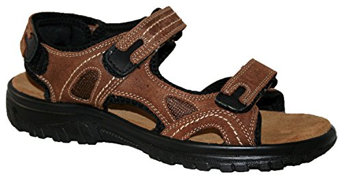 mens leather upper touch close straps sandal, with cross strap front and...