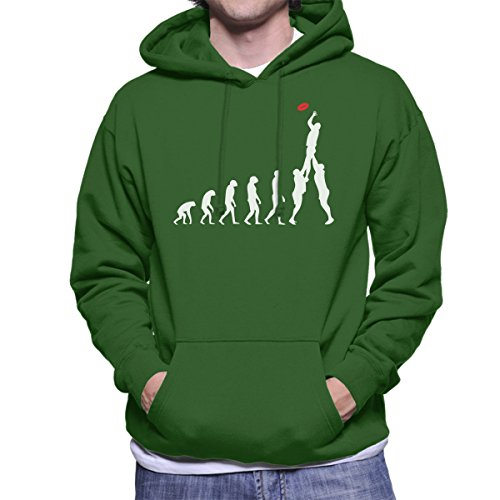 Rugby Evolution Of Man Men's Hooded Sweatshirt Bottle Green