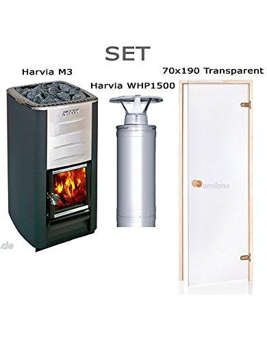 Harvia M3 + Harvia WHP1500 + Saunatür ST 70x190 Transparent, Rahmenmaterial: Espe