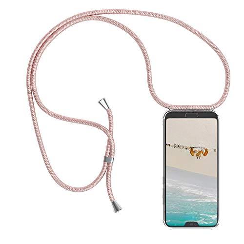 Mkej Trendige Handykette kompatibel mit Xiaomi Mi 8 Lite Handyhülle, Durchsichtig TPU Silikon Smartphone Necklace Hülle Band zum Umhängen mit Kordel in Premiumqualität Umhängeband - Roségold Da-lite 150