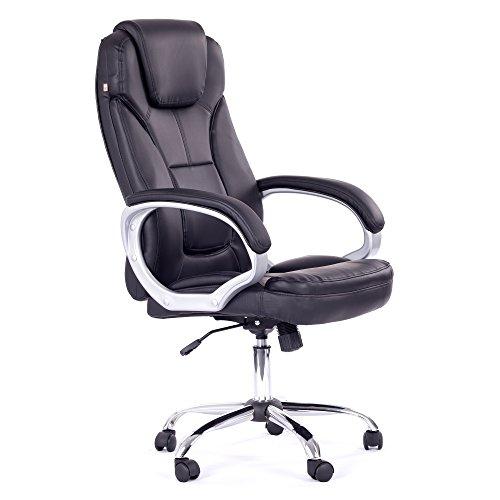 MY SIT Profi Bürostuhl ergonomisch mit Armlehnen & hoher Rückenlehne Kunstleder schwarz bis 120kg Chefsessel Drehstuhl Bürosessel Computerstuhl Bürodrehstuhl Drehsessel PC Stuhl moderne Büromöbel