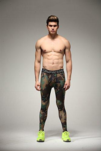 Fringoo Herren Sport Leggings Mehrfarbig – Camo Green - 4