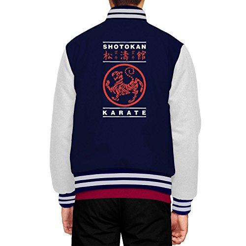 Shotokan Karate Logo College Jacke / Leichte Sweatjacke / Streetwear Fashion - Farbe: Navy/White - Größe XS