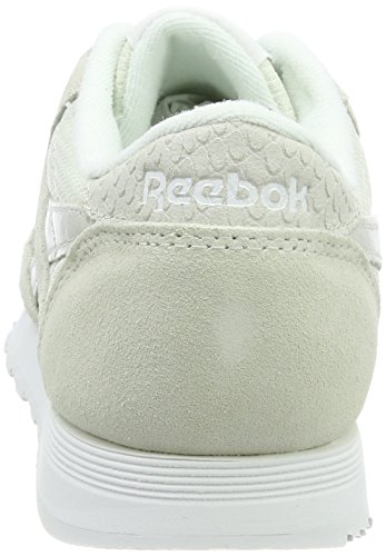 Reebok Classic Nylon Fbt, Scarpe da Ginnastica Basse Donna Bianco (Chalk / White / Skull Grey / Big Green / Elect Flash)