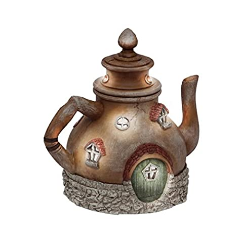 Rain Pepper Filtre Fairy House Solar Power LED Light Garden Patio Teapot Ornament