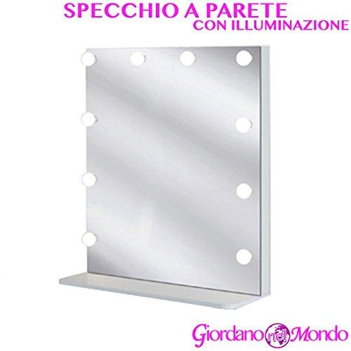Specchio con fari a led per postazione da lavoro a parete ceriotti