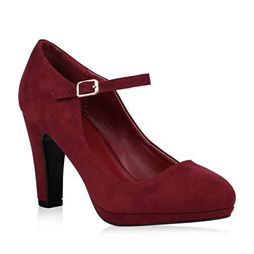 Damen Schuhe Pumps Mary Janes Veloursleder-Optik High Heels Blockabsatz 153006 Dunkelrot 38 Flandell - Damen Mary Jane-schuhe Rot