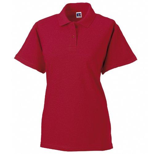 Russell - Polo 100% coton à manches courtes - Femme Rouge classique
