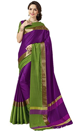 Indian Beauty Present Purple Cotton Silk Multi Color Saree