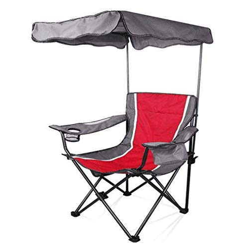 Lcxligang Camp Stühle Mit Schatten Baldachin Stuhl Klapp Camping Liege Rot Tragbare Stühle Oxford Tuch Material Sonnenschirm Sessel