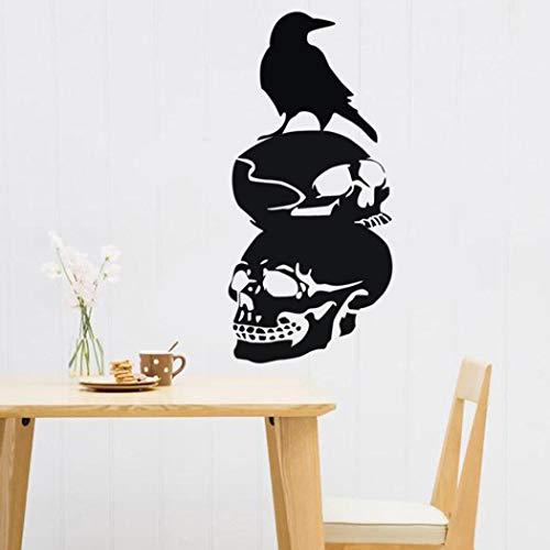 Holeider Halloween Wandtattoo Neu Entfernbare Krähe Schädel Kopf 3D Für Schlafzimmer Wohnzimmer Kinderzimmer