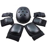 Protector de engranajes de seguridad deportiva conjunto de niños ajustable codo muñeca rodilleras casco para niños adolescente adulto scooter patinaje Ciclismo equitación hoverboard Regalo negro M