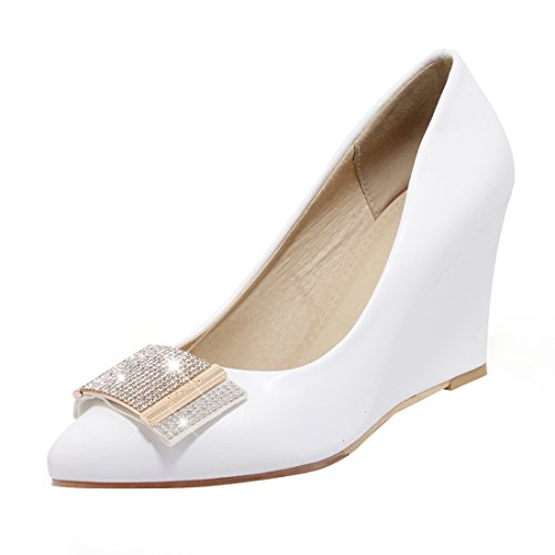 656eee050711b Simple Femmes Compensees Elegantes Bout Pointu Strass Haut Talon Chaussures  Avec Blanc A Uh nYvZS6n ...