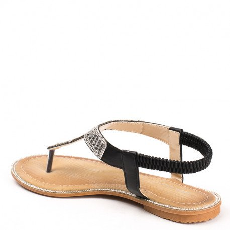 Ideal Shoes - Sandales plates en similicuir incrustées de strass Laenicia Noir