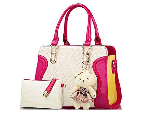 PACK Borse A Tracolla Tasche A Tasca Moda A Rilievo Versione Coreana Trendy Wild Tre Pezzi,A:Red E:Pink