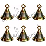 Aarsun Brass Pooja Bells | Golden Silver Shade Puja Bells | Christmas Bells | Decoration Bells | Pooja Ghanti Set Of 6 (1.25 X 1.8 In Inch)