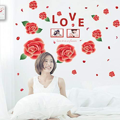 Adesivi murali adesivi murali romantici rose rosse adesivi murali decorativi per pareti camera da letto camera da letto matrimoniale 120x80cm