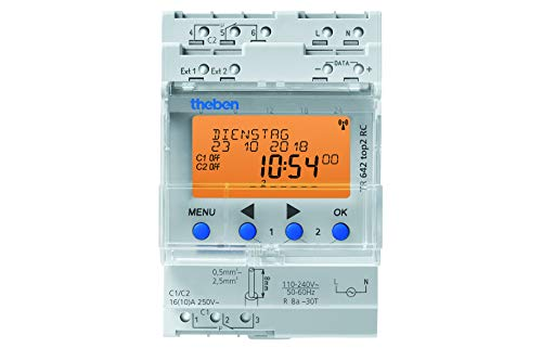 Theben 6420100 TR642 top2 - digitale 2-Kanal Zeitschaltuhr mit Jahres- und Astro-Programm, sowie 2 externen Eingängen, Zeitschalter -