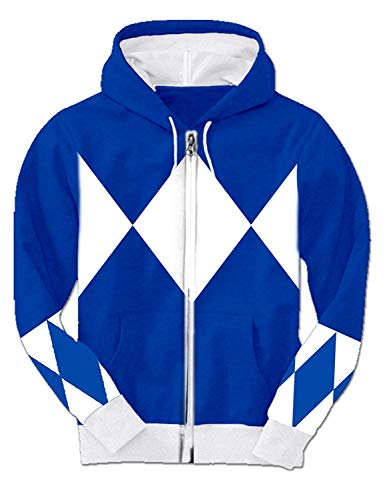 Blau Power Rangers Hooded Kostüm Sweatshirt - Power Rangers Kostüm Männer