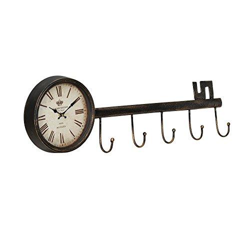 [en.casa]® Dekorative Wanduhr Schlüssel Design mit analoger Anzeige - 88 x 7 x 26 cm - mehrfarbig Glas (Schlüssel Für Standuhr Die)