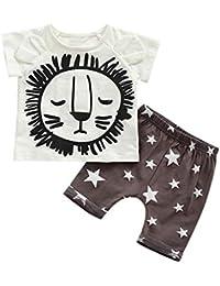 Camiseta De Manga Corta con Estampado De LeóN De Dibujos Animados para NiñOs, Top +