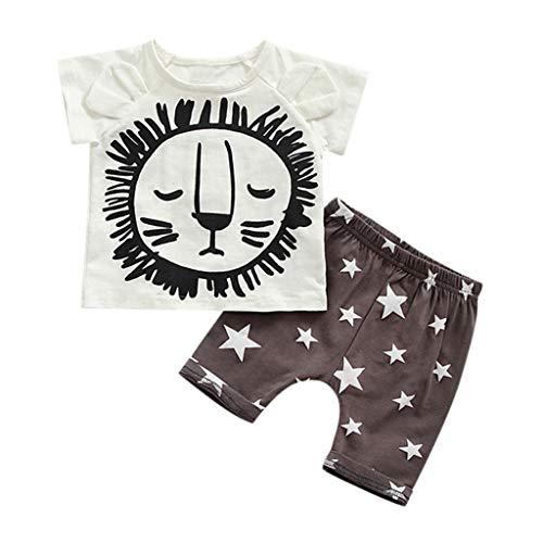 Janly_Top Baby Set,Janly Kleinkind Boy Kid Cartoon gedruckte T-Shirt Tops Star Shorts Outfits Set (80, Weiß)