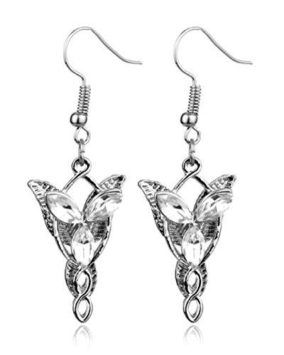 Herr der Ringe Hobbit Unisex Schmuck Elfengrün Blatt Halskette Brosche und Arwen Abendstern Legierung Harz Ohrringe Set