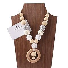 Idea Regalo - Mamimami Home Bambino Teether in legno Filettatura dell'uncinetto Perle masticabili Accessori per bambini Giocattoli dentici Collana da Allattamento