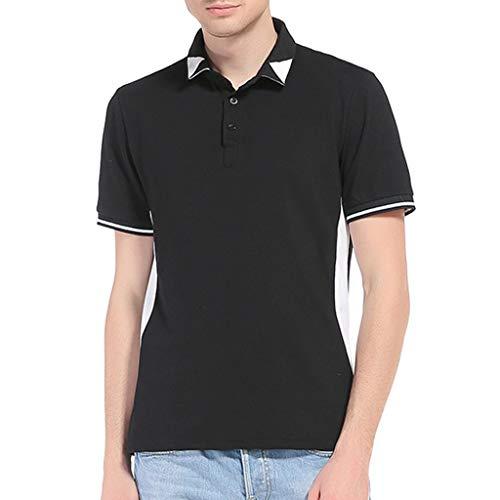 Xmiral T-Shirt Oberteile Herren Euro-American Stil Zweifarbige Patchwork Revers Kurzarm Baumwollmischung Hemd Pullover(2XL,Schwarz)
