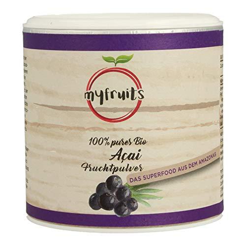 myfruits® Bio Acai Pulver - gefriergetrocknet, ohne Zusätze, dunkelviolett. Das Superfood aus dem Amazonas. Aus 1,8 kg frischen Acai Beeren (100g) -