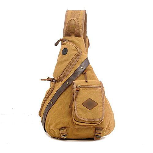 QHGstore Canvas Brust Sling Pack Outdoor Sport Schulter Military Messenger Bag Khaki