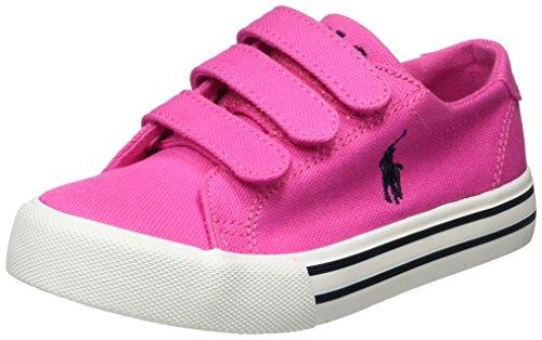 Ralph Lauren  Slater Ez, chaussons d'intérieur fille Pink (Fuchsia Canvas w/ navy pp)