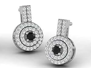 0.34 Cts Fullcutdiamond Boucles d'Argent en Argent sterling et diamants véritables