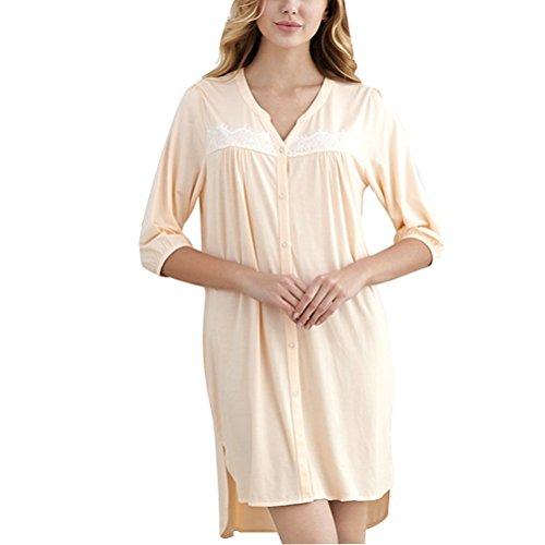 Zhhlaixing Unique Design Womens Button Pajamas Adult Comfortable Simple Sleep Skirt Pastel orange