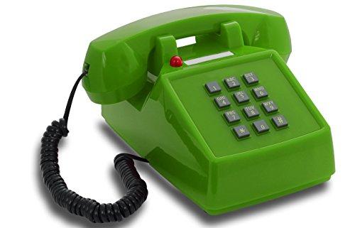OPIS PushMeFon Cable: 1970er Retro-Tastentelefon mit Klassischer Metallklingel (grün)