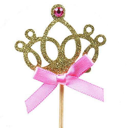 Toppers Cuake - Nice 10 Pieces Crown Cake Pers 1st Birthday Decoration Kids Baby Boy Girl Party Gold Pink Cupcake - Topper Cake Birthday Topper Cake Topper Lot Number Cake 1st 2 Cupcake Decoratin