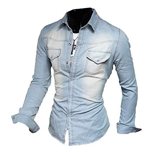Reeseiy camicia di cotone da uomo casual chic a camicia camicia maniche lunghe uomo slim fit vintage camicia di jeans nero azzurro blu scuro xs xxxl (color : hellblau, size : s)