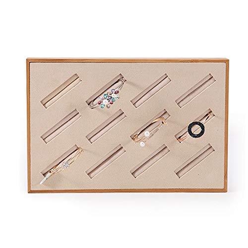 Wanlianer-Jewelry Schmuckkästchen Bamboo Velvet Armreif Display Tray Counter Schmuckschatulle Abschnitt Schmuckschatulle (Design : Large, Größe : Bamboo)