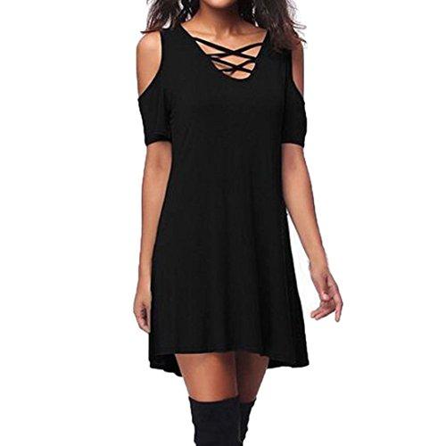 ESAILQ Damen V Ausschnitt A-Linie Kleid Träger Rückenfreies Kleider Sommerkleider Strandkleider Knielang(XL,Schwarz)