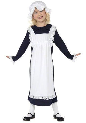 Mädchen Viktorianische Magd schlecht Bauer Dienstmädchen historisch büchertag Kostüm Kleid Outfit - Schwarz, 4-6 Years
