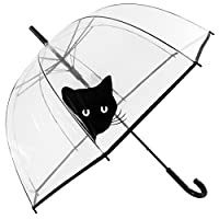 Susino See-Through Dome Umbrella POE Peek-A-Boo Cat, 85cm, Clear
