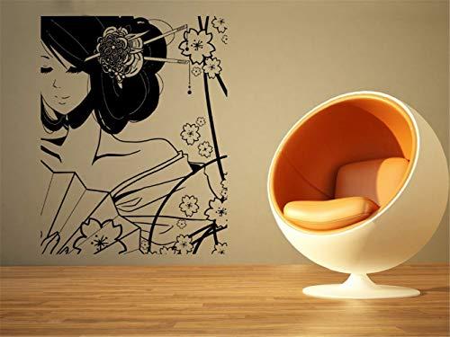 Kostüm Baumstämme - Wandtattoo Kinderzimmer Wandtattoo Wohnzimmer Kostüm Schönes Geisha-Mädchen und Blumen-Karikatur-Ausgangswohnzimmer-Dekor-Aufkleber